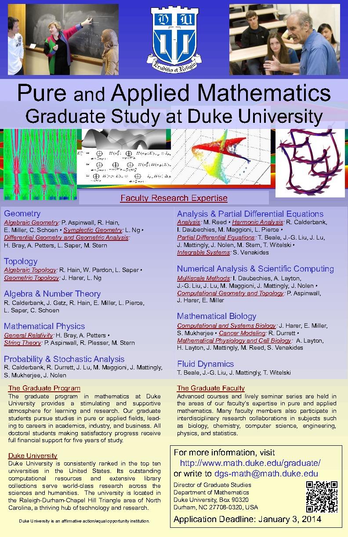 Applying to the Duke Graduate Program in Mathematics