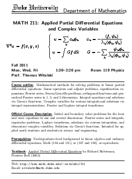 Math 211: Applied Partial Differential Equations and Complex Variables